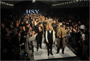 Pakistan Fashion Week The designer Hassan Sheheryar Yasin acknowledged the crowd at the end of his show