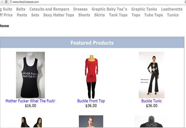 cherylclubwear.com web page  Manhattan NY