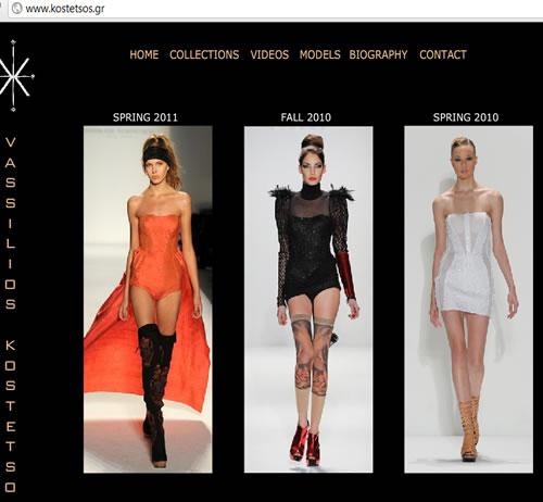 kostetsos.gr web page fashion designer Vassilios Kostetsos
