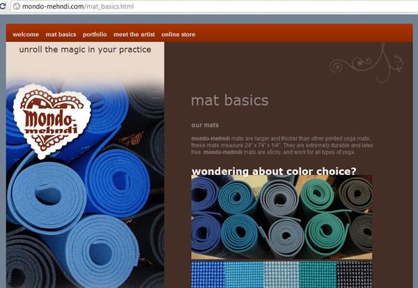 Mondo-mehndi.com web page  Manhattan NY Yoga