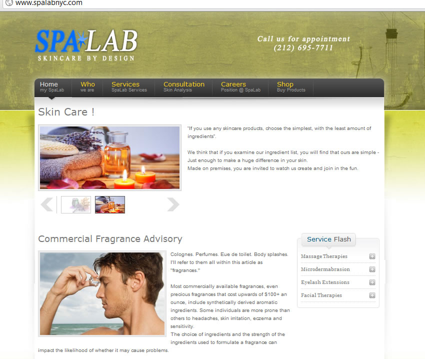 spalab Manhattan skinkare by design day spa massage