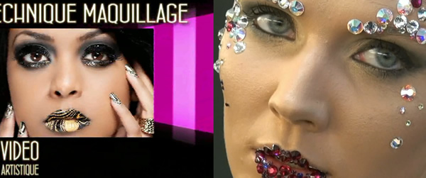Maquillage Mode - Faux crane + Strass