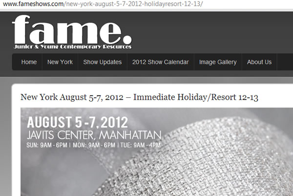 New York August 5-7 2012 – Immediate Holiday Fashion NYC